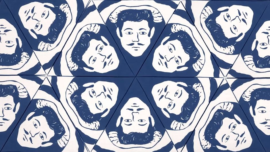 L'Amour a ses réseaux (6/13). Homo Habitus; Sketch of a kaleidoscope of a man with a mustache.